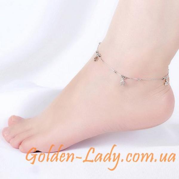 "Серебряный браслет на ногу ""Stars Deluxe"""
