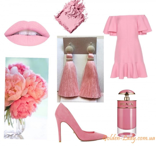 Светло-розовые сережки кисти