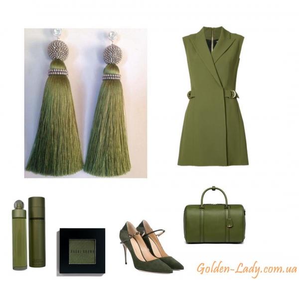 Сережки кисточки цвета Хаки и образы одежды