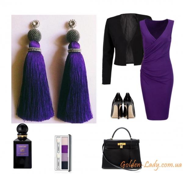 Сережки кисточки фиолетового цвета