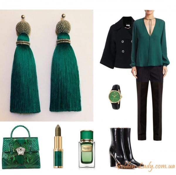 Тёмно-зелёные серьги кисточки