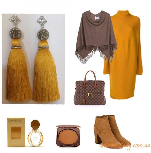 Оранжевые сережки кисточки Golden Lady
