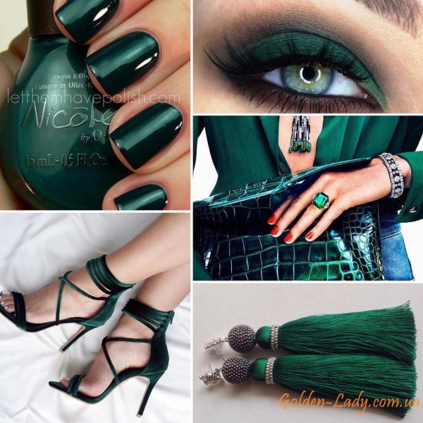 Тёмно-зелёные серьги кисточки Golden Lady