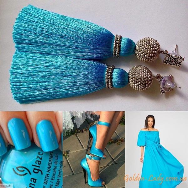 Серьги кисточки голубого цвета