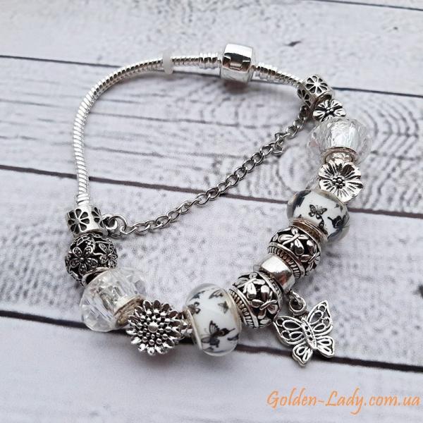 """Браслет Pandora с бабочками и цветками """"Butterfly Charms"""""""