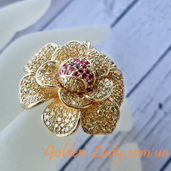 кольцо цветок большое