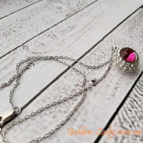 кулон шарик с розовым камням