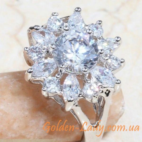 Кольцо белый цветок с топазами для девушек