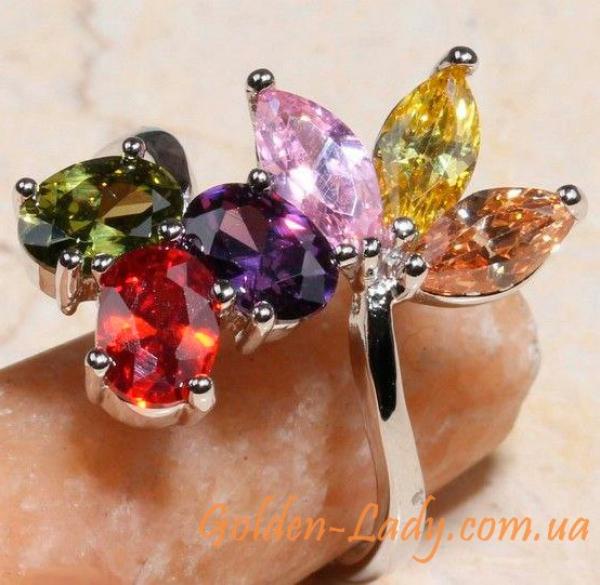 шикарное кольцо с кристаллами Сваровски (Swarovski), длинное колечко для девушки