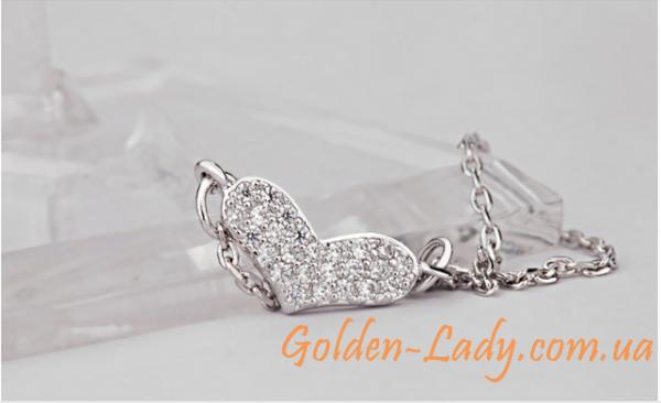 кулон сердечко в белом золоте 750