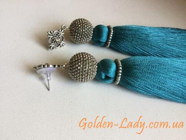 """Сережки кисти """"Синий индиго"""" Golden Lady"""