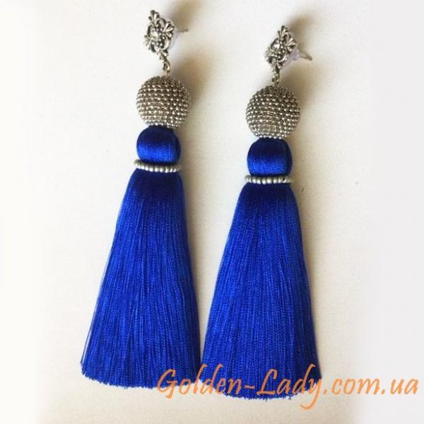 синие сережки кисточки
