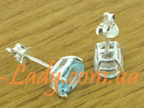 сережки серебряные с голубым топазом