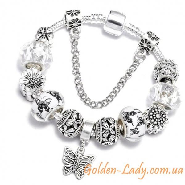 Браслет Pandora с бабочками и цветками