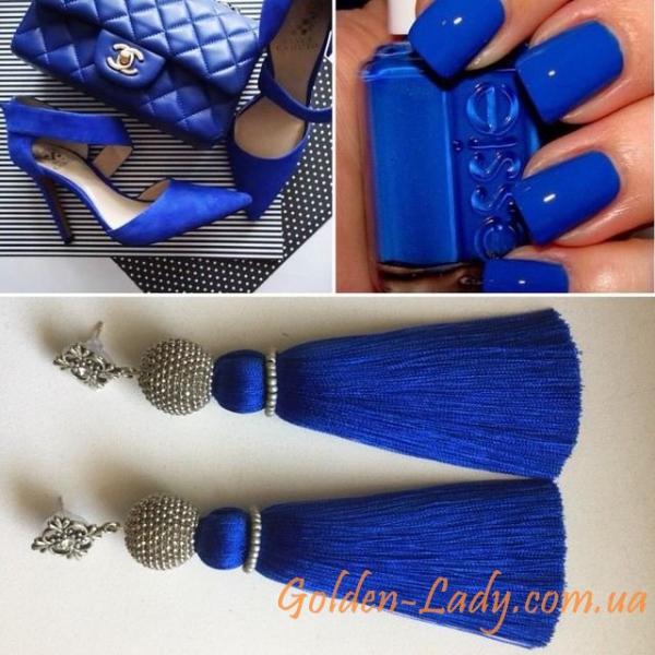 Синие серьги кисти Golden Lady