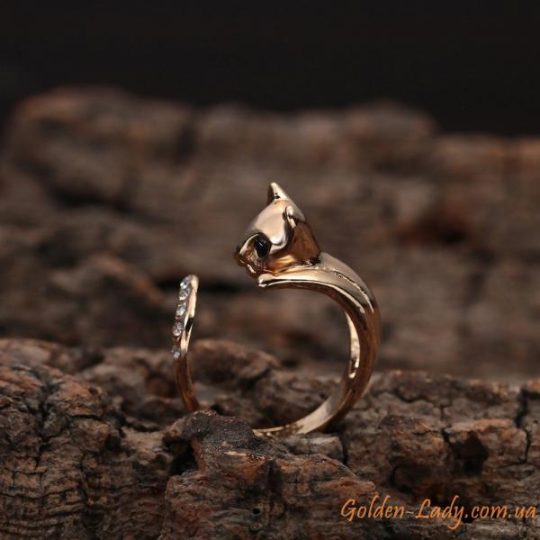 Кольцо в виде кошки с кристаллами Swarovski