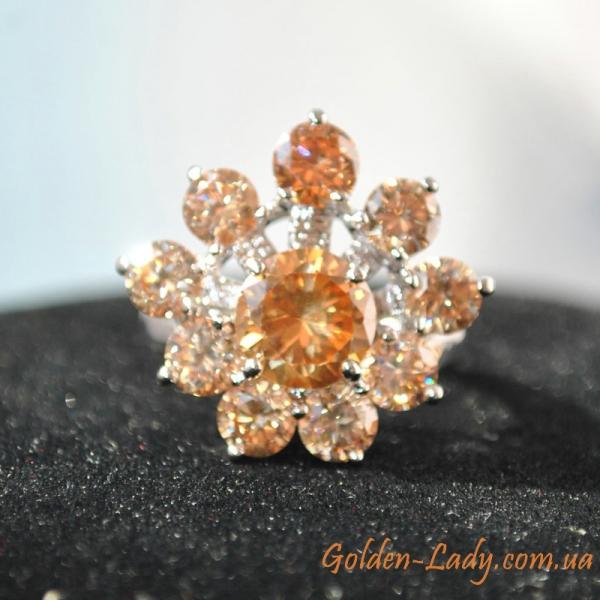 оранжевое кольцо с камнем