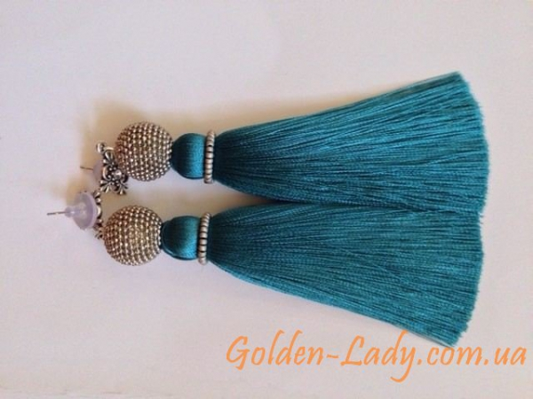 серьги кисточки сине-зеленые Индиго