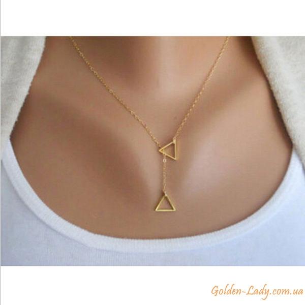 Цепь с двумя треугольниками золотистая