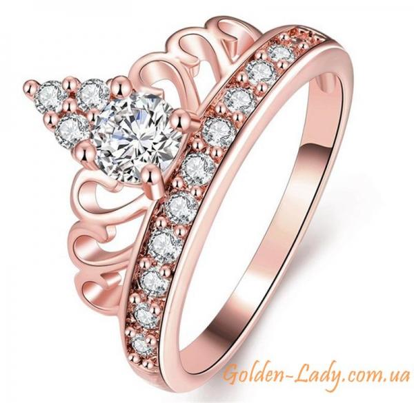 кольцо в виде короны розовое золото
