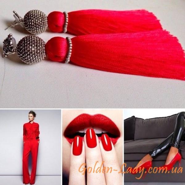 Красные серьги кисточки