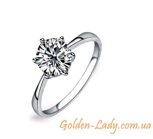 кольцо с фианитом 925