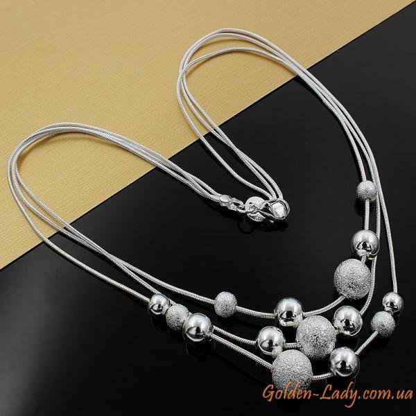 "Колье ""Lana"" из серебристых цепочек, серебро 925"