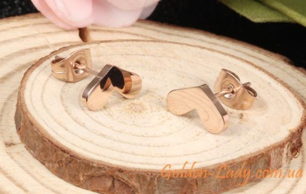 Серьги-сердечки из титана в золоте 585, 2 цвета