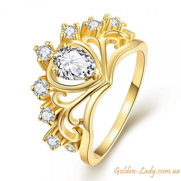 """Кольцо-корона """"Victoria"""" с фианитами желтое золото"""