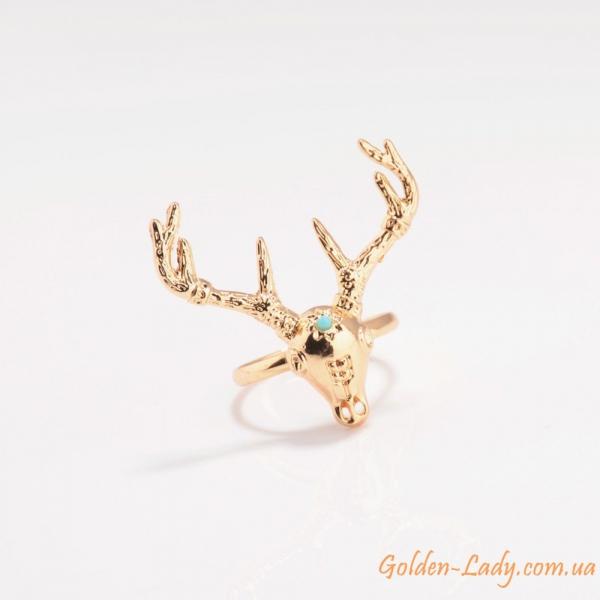 Кольцо в виде оленя с бирюзой позолоченное