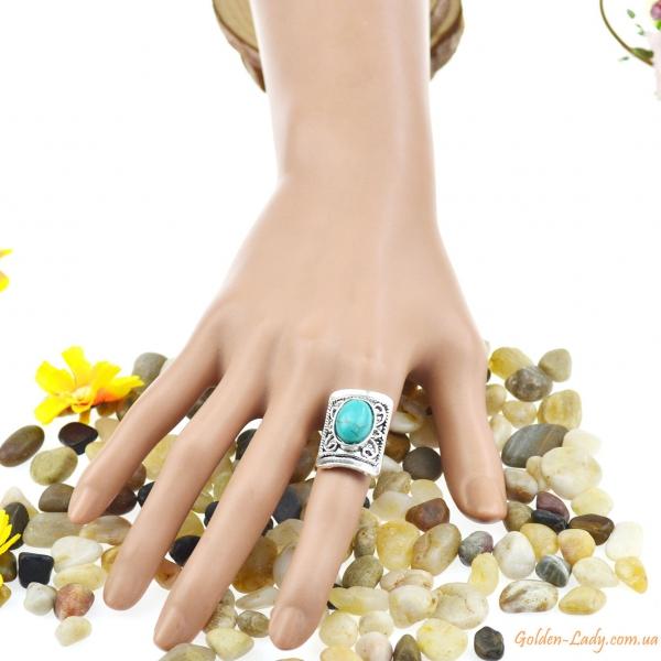 """Прямоугольное кольцо """"Персефона"""" с бирюзой"""