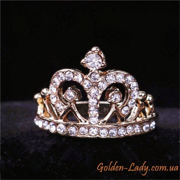 """Кольцо корона с фианитами """"Грация"""""""