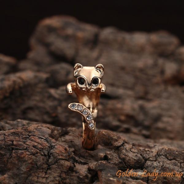 кольцо кошка золото 585