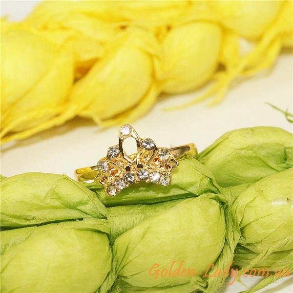 Регулируемое кольцо с короной и фианитами