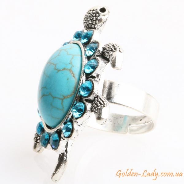 кольцо в виде черепахи с бирюзой