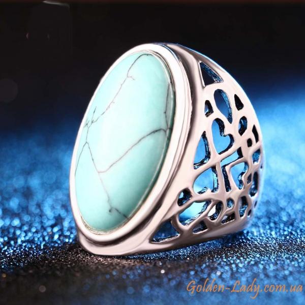 """Кольцо с большим бирюзовым камнем """"Afina"""""""