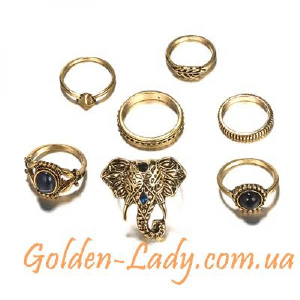 Кольца на фаланги со слоном