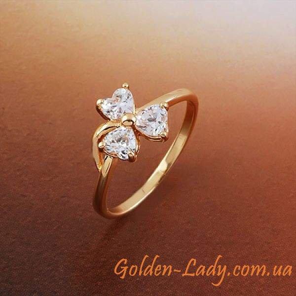 Кольцо, покрытое розовым золотом с фианитами в форме цветка