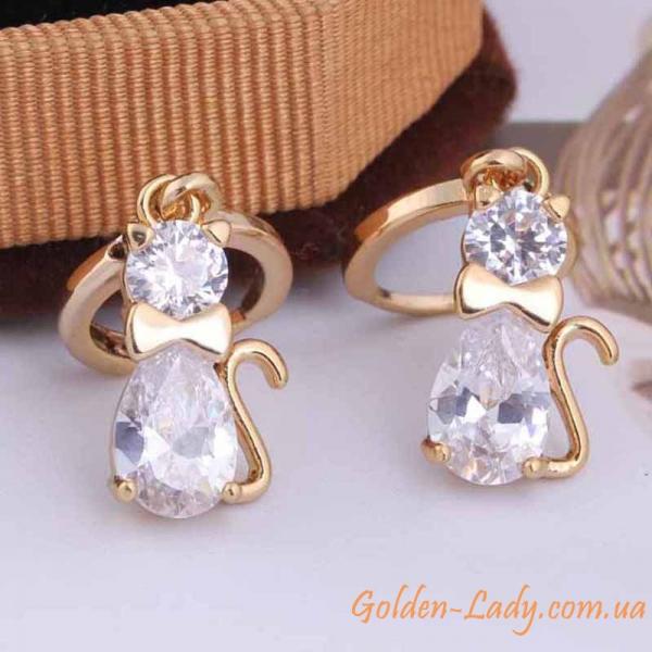 серьги в форме кошки, золото 750