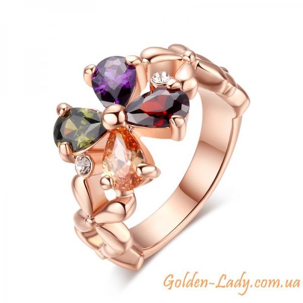 Кольцо в виде цветка с камнями