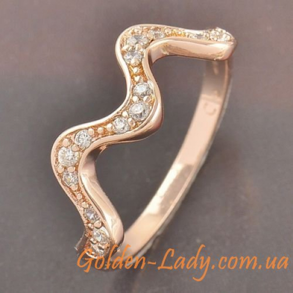 кольцо женское в форме зиг зага