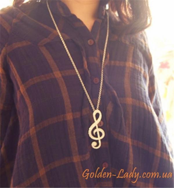 кулон скрипичный ключ со стразами