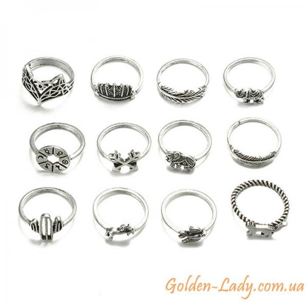 кольца со слонами, рысью, птицей, лошадью