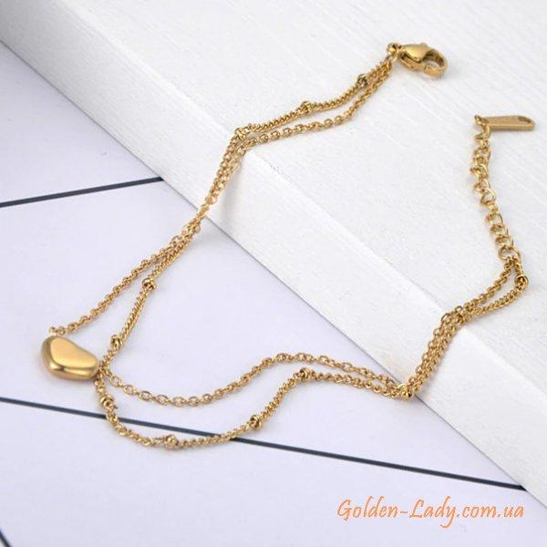 анклет с сердечком желтое золото