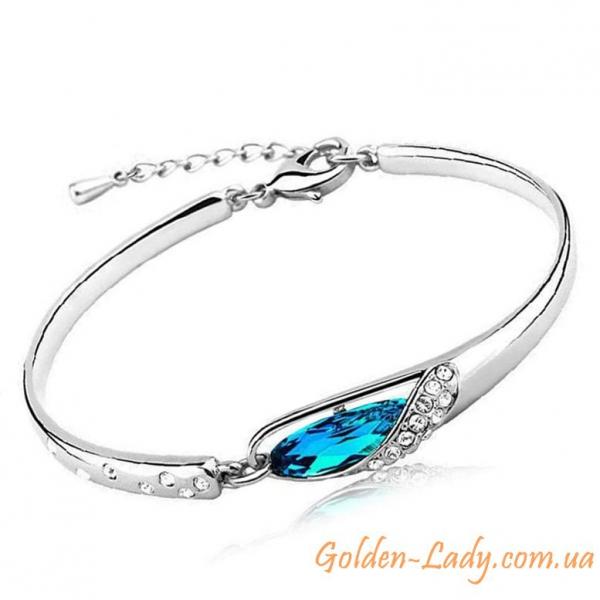 """Браслет """"Blue Lagoon"""" с голубым камнем"""