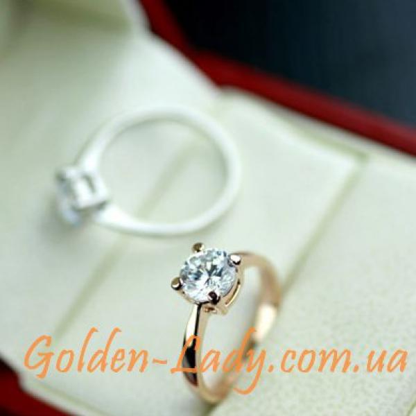 кольцо классика с камнем