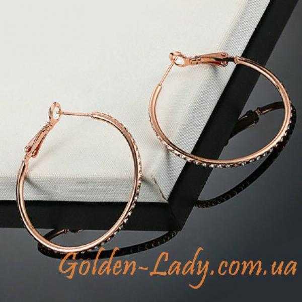 сережки кольца с камнями фианитами