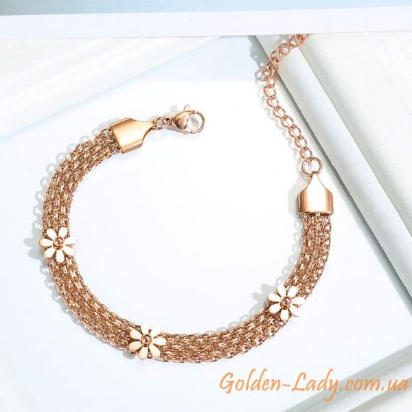 браслет позолоченный широкий, золото 750