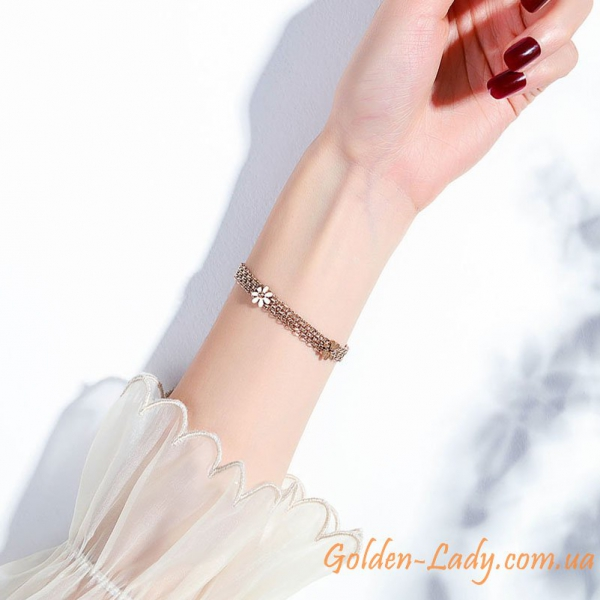 золотой браслет с широкими звеньями 1 сантиметр
