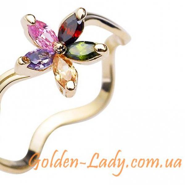 кольцо позолоченное с цветком из кристаллов Сваровски
